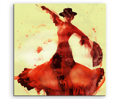 Flamenco Dancer 60x60cm  Aquarell Art Leinwandbild
