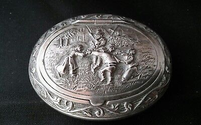Dutch G7S Silver Picture Top Snuff / Pill Box  Antique Fiddler & Dancers Vintage