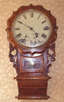 ANTIQUE DROP DIAL CLOCK QUALITY WALNUT CARVED INLAID CASE WORKING circa 1880
