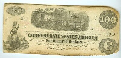 1862 Confederate States Of America $100 Note  Scarce!