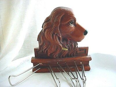 Vtg Irish Setter Tie Rack Mens Closet Organizer 5 inch Faux Carved Wood Dog