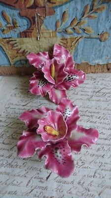 2 SWEET ANTIQUE FRENCH TIMEWORN POTTERY GLAZED MEMORIAL LILY FLOWERS  c1930