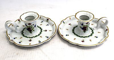 Pair Of HAVILAND LIMOGES Decorative Floral CANDLE HOLDERS / UNBOXED - L50