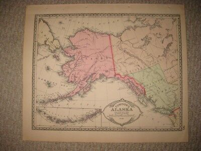 Superb Antique 1886 Alaska & Mexico West Indies Handcolored Map Cuba Jamaica Nr