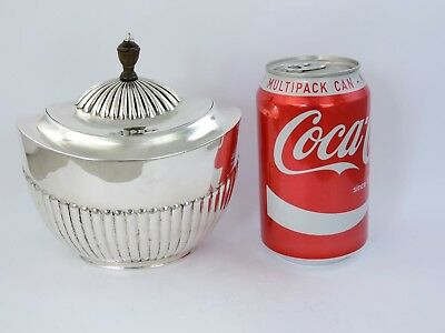 LARGE Queen Anne style Victorian SILVER TEA CADDY BOX, London 1883 Barnards 303g