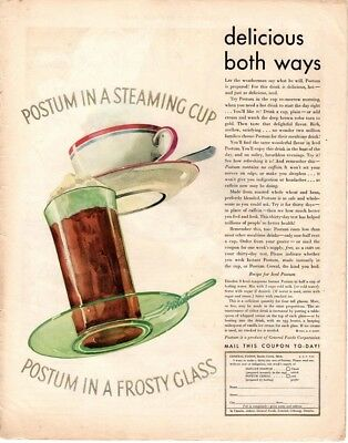 1931 Saturday Evening Post Magazine Instant Postum Advertisement  A217