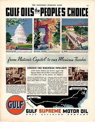 1931 Saturday Evening Post Magazine Gulf Motor Oil Advertisement  A219