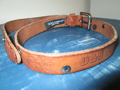 D&G brown embossed leather belt size S KIDS (to fit 4-5-6 year old child)