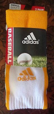 Adidas Baseball Socks 2 Pack Collegiate Gold/White Youth Size Small - New