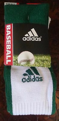 Adidas Baseball Socks 2 Pack Forest Green / White Youth Size Small - New