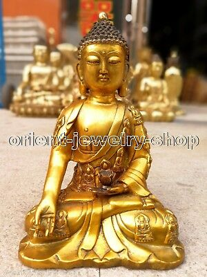 28cm buddhist Ancient Bronze gilding Buddha Old Temple God Antique Statue