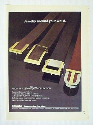 1975 Magazine Advertisement Page Dante Don Loper Collection Belts Buckles Ad