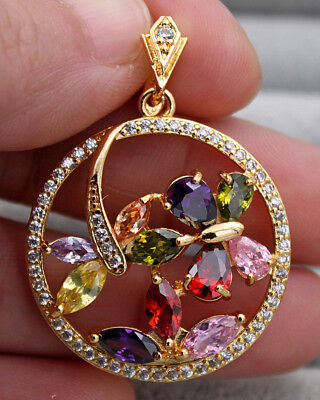 18K Yellow Gold Filled - Round Butterfly Dragonfly Ruby Topaz Amethyst Pendant