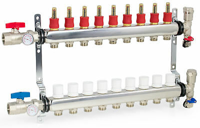 "9 Loop/Branch 1/2"" Pex Manifold Stainless Steel Radiant Floor Heating Set / Kit"