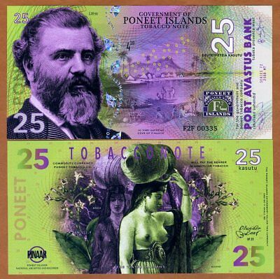 Poneet Islands, 25 Kasutu, Tobacco Note, 2018, POLYMER, UNC > Water Maidens