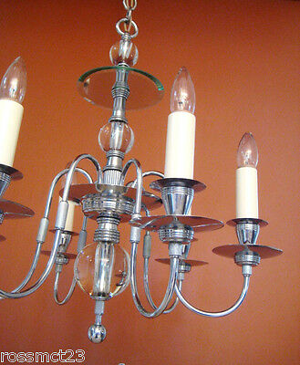 Vintage Lighting antique 1930s chrome chandelier   Dashing Extraordinary