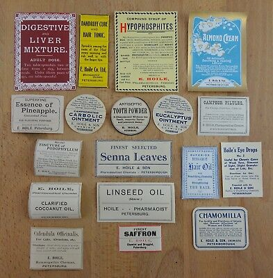 Vintage Chemist / Pharmacy Labels from South Australia 1900s - 1920s