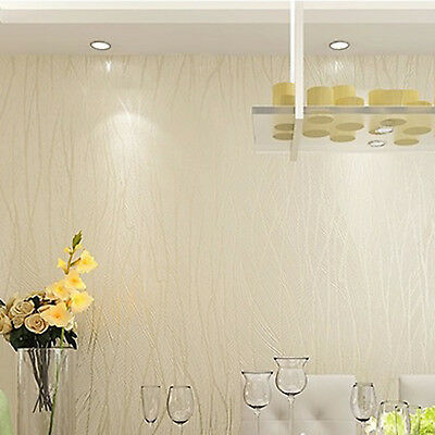 Luxury Non-woven 10m Embossed Flocking Wallpaper Roll Flocked Striped Wall Paper