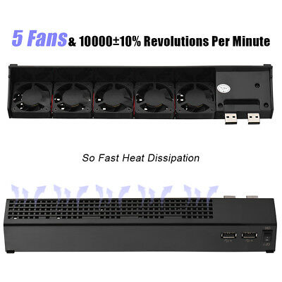5V 5-Fan USB Cooler Cooling Auto Power On/Off for Sony PS3 40G 80G Game Console