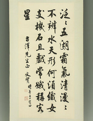 "CHINESE HANGING SCROLL ""Calligraphy""  @e496"