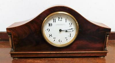 mahogany line inlaid 8 day mantel clock