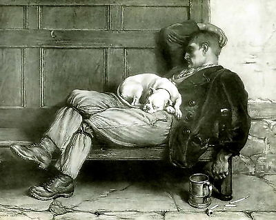 Antique RIVIERE Old Art Print c19th Man Sleeping Off Drinking at Pub w/ Pit Bull