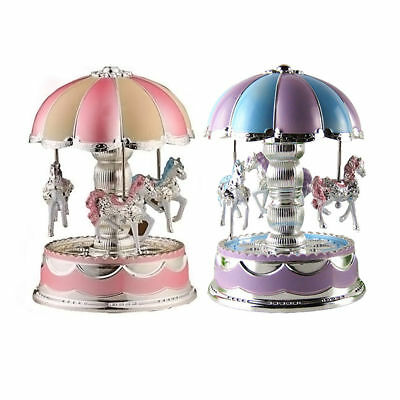 Kids LED Horse Carousel Music Box Toy Clockwork Musical Home Decoration Gifts
