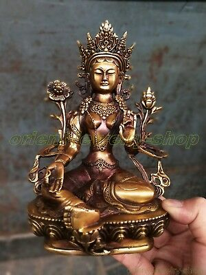 Tibetan Buddhism Bronze Kwan-yin Green Tara Buddha Old Temple God Statue