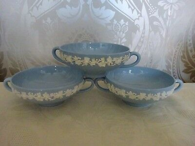Wedgwood Embossed Queens Ware White on Blue Set of 3 Double handled Soup Bowls