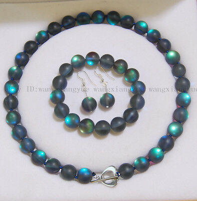 6/8/10/12mm Gray Gleamy Rainbow Moonstone Round Beads Necklace Bracelet Earrings