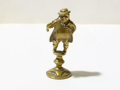 18-9thC Brass Dickens Portly Farmer Gent Holding a Pipe PIPE TAMPER
