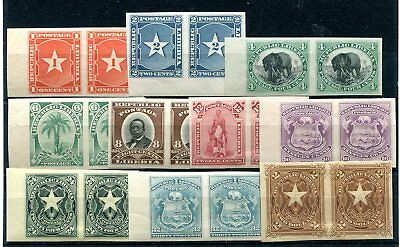 Liberia 1892 1c to 32c and $2 in imperf horizontal pairs hinged mint