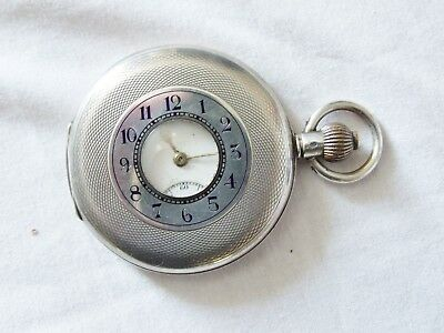 Antique Silver Half Hunter Gent's Pocket Watch~Import Marked~Good Condition