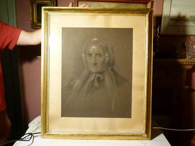 2 Samuel Lawrence Artist Signed Chalk Pencil Portraits in Period Frames 19thC