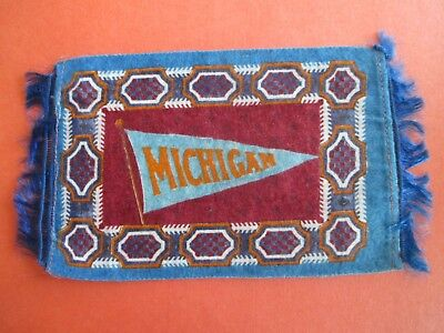 "EARLY 1900's MICHIGAN UNIVERSITY TOBACCO FELT PENNANT 8 1/2"" X 4 3/4"" COLORFUL"