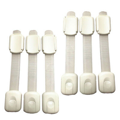 6Pcs Baby Kid Child Safety Lock Proof Cabinet Drawer Fridge Cupboard White