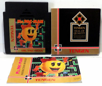 Ms. Pac-Man with Manual and Original Tengen Sleeve - NES Nintendo - Tested