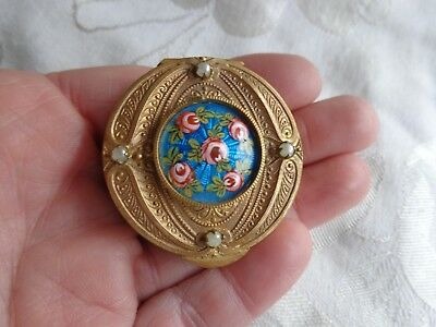 Antique French Enamel Roses Jeweled Gold Gilt Patch Trinket Compact Powder Box