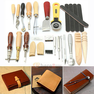 24 Leather Craft Punch Tools Kit Stitching Carving Working Sewing Saddle Groover