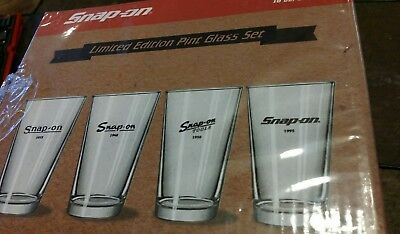 Snap On Limited Edition Glass Set Of 4 Pint Glasses 16oz SSX15P110 New snap-on
