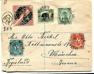 Liberia 1896 Otto Bickell registered cover with triangle imperf pair