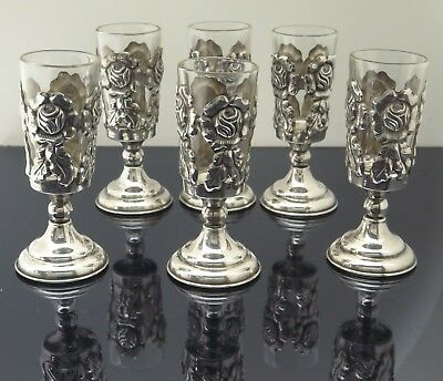 Taxco Mexico Sterling Silver Rose Glass Stemmed Cordial Shot Cups 70.6g Set of 6