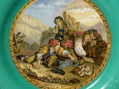 19thC  I See You My Boy - Red Cap (318) Prattware Side Plate Green Border #A