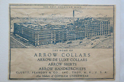 Arrow Collar Arrow Shirts Paper Ephemera Advertising