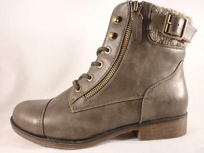 FOLLOW Olive Faux Leather Lace//Zip Up Casual Combat Ankle Boots NEW Women/'s S.O