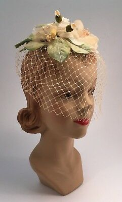 Vintage Cream Floral Fascinator with Veil 1950s Wedding or Party