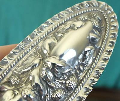 Fine Antique Edwardian Oval Cut Glass & Embossed Solid Silver Box - Bham 1904