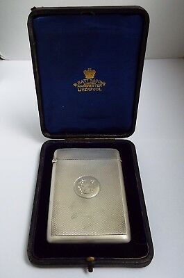 Superb Clean Boxed English Antique 1903 Solid Sterling Silver Calling Card Case