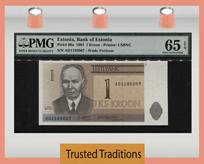 "TT PK 69a 1992 ESTONIA BANK OF ESTONIA 1 KROON ""K. RAUD"" PMG 65 EPQ GEM UNC!"