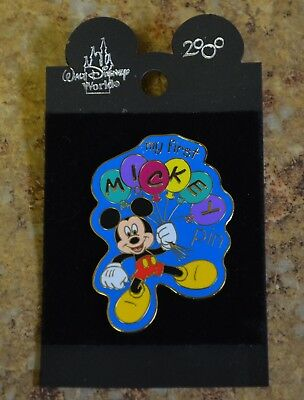 WDW Disney My First Pin Mickey Mouse w/ Balloons Trading Pin New on Card